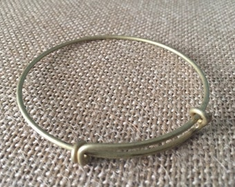 Expandable Bracelet, Charm Bracelet, Bangle Bracelet,  Antiqued Brass