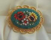 Vintage Mosaic Floral Brooch