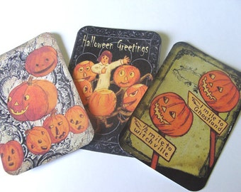 Funny Halloween Tags - Set of 6 - Vintage Look - Jolly Halloween - Jack O Lanterns - Holiday Tags -Thank Yous,Cute Halloween,Direct Checkout