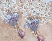 Cast Bronze Periwinkle Hydrangea Blossom Earrings with Amethyst Gemstones