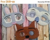 Flash Sale Zootopia Inspired Felt Masks...  Great for Birthday Parties, Dress Up, Costume Parties, Halloween