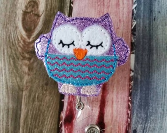 Badge Reel - Owl - Retractable Badge Reel - ID holder - name badge holder - woodland animal - gift for nurse  - gift for teacher