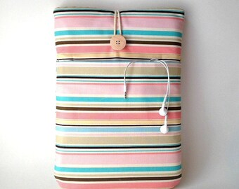 MacBook Air 13 Sleeve, MacBook air 13 Case, MacBook Pro 13 . 3 inch cover, MacBook Pro Touch Bar, Laptop Bag Cord Pocket Pink Blue Stripes