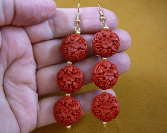 Earrings red ROUND DISC CINNABAR pierced French wire wood carved bead beads EE400-33