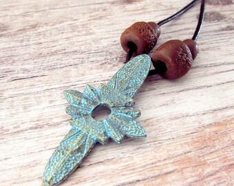 Mens Bohemian Necklace, Celestial Necklace, Mens Boho Necklace, Mens Leather Necklace, Necklace Mens Boho, Mens Boho Jewelry, Pendant Mens
