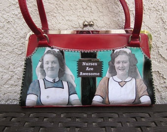 "Upcycled Purse, ""Nurses are Awesome"""