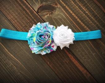 Aqua blossom headband