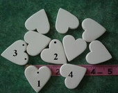 Heart jewelry blanks 1.5 inch x 1.5 inch 10 ceramic hearts ready for you to finish your way.