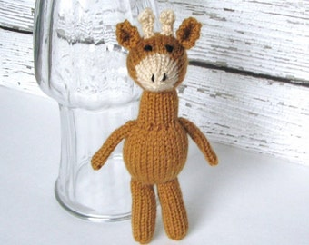 "Little Hand Knit Giraffe Stuffed Animal, Baby Toy, Ready To Ship, Small Newborn Photo Prop, Kids Toy, Toddler Gift, Giraffe Nursery Toy 9"""