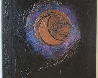 Handmade Journal Black Cresent Moon 8x8 Original