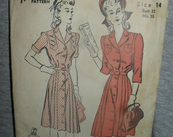 Vintage Sewing Pattern - Advance - One Piece Belted Dress - Size 14- 1940s - # 2854