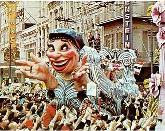 Vintage New Orleans Postcard - Mardi Gras Parade (Unused)