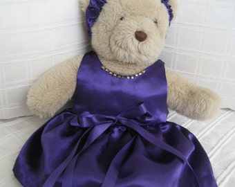 Teddy Bear Clothes, Monica Satin Dress and Headband
