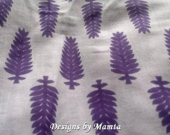 Purple Block Print Fabric By The Yard, Leaf Print Fabric, Indian Print Fabric, Soft Cotton Fabric, Indian Cotton Fabric, Tree Print Fabric