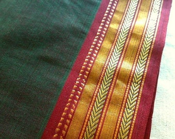 Indian Saree Fabric By The Yard, Green Ilkal Designer Indian Sari, Ethnic Fabric, Unique Handmade Handloom Fabric, Indian Cotton Fabrics