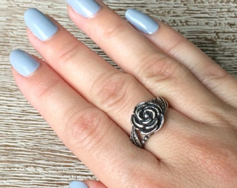 Silver Rose Ring Vintage