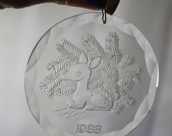 1983 Christmas Treasures Ornament, Fawn, Pine Boughs, With Box and  Pouch