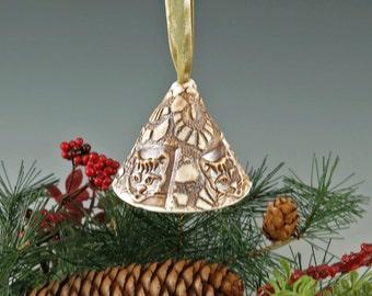 Bell - Christmas Bell - Holiday Ornament - Christmas Ornament - Handmade Ornament - Porcelain - Christmas Decor - Holiday Decor -  982