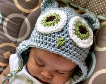 Baby Owl Hat, Crochet Baby Owl Hat, Grey Owl Hat