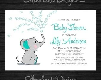 Baby elephant Baby Shower Invitation, teal, turquoise, white, baby sprinkle, elephant invitation, custom invite, digital file, DIY Printable