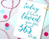 Days I've Loved You Calligraphy Card – Personalised Anniversary Card – Card for Husband/Wife– birthday card for husband/wife –Christmas card