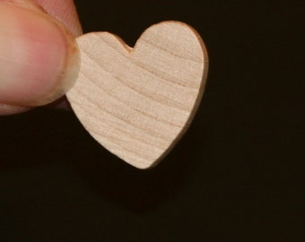 Unfinished Wood Heart - 3/4 inches tall by 3/4 inches wide and 1/8 inch thick wooden shape (WW-WH0712)