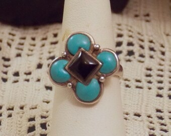 South Western Turquoise and Jet ring size 7.5 with Makers Mark