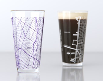 New York, NY - NYU - College Town Pint Map Glasses