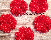 5 Chiffon Flowers 2.75 inch- Chiffon Twirl Flower- ReD Polka Dot Christmas Flowers- Headband Supplies- DIY Supplies- Ballerina Flowers