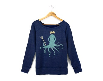 King Octopus Sweatshirt - Scoop Neck Relaxed Fit Raglan Sweater in Heather Navy and Mint - Women's Size S-2XL