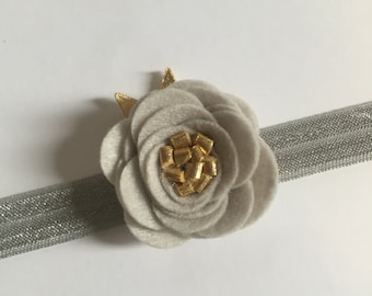 Kate - gray and gold single felt flower headband - holiday headband collection