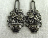 Circa 1930 Silver and Marcasite Flower Basket Dangle Earrings