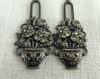 20% off Sale. Circa 1930 Silver and Marcasite Flower Basket Dangle Earrings