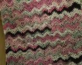 Gray  Black  Pink Crocheted Shawl