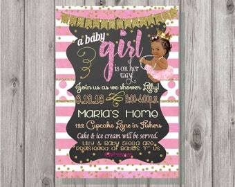 Digital Chalkboard Pink and Gold Glittery African American Baby Girl Shower Invitation Personalized Printable