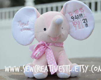 Birth Stat Embroidered Elephant