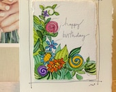 "Happy Birthday Grow Cake  Watercolor Original ""Big Card"" 5x7 With Matching Envelope  betrueoriginals"