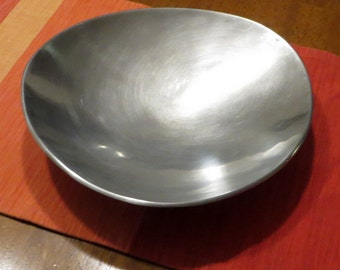 Aluminum Bowl by Designco Mid Century Modern Display Egg Shaped Dish MCM