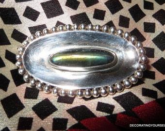 1982 Finland Kaunis Koru Labradorite Stone Sterling Silver Brooch Pin