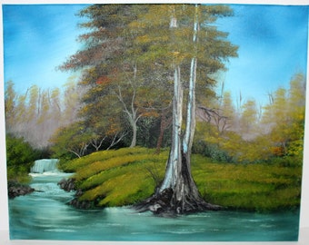 Bob Ross Style Oil Painting Forest Foliage Wilderness Large Tree Landscape, River's Peace 16 x 20