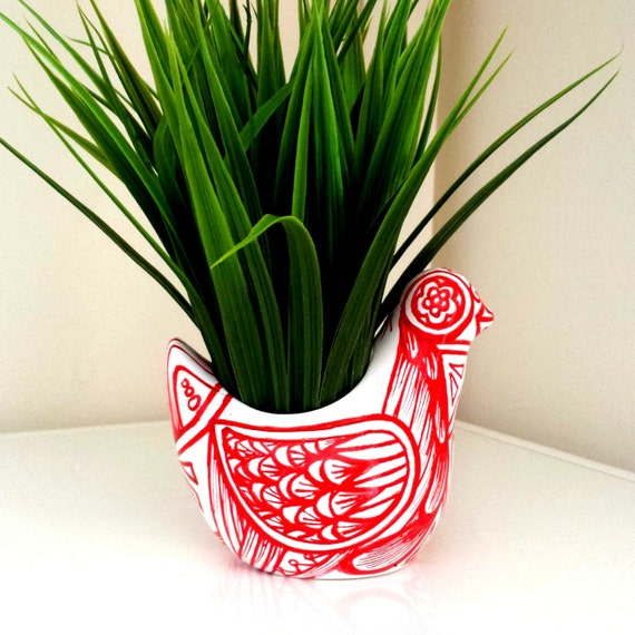 Bird Planter Red White Painted Ceramic Folk Art Mother's Day Gift Decor Vase Succulent Pot Tea Light Candle Holder - READY TO SHIP