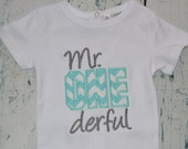 Mr ONE derful Birthday Shirt or bodysuit  First Birthday Wonderful
