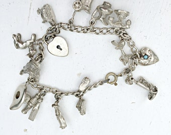 Silver Charm Bracelet, Vintage 1940's Sterling Silver Charm Bracelet, Vintage Silver, 14 Charms, Antique Jewelry, F&B Sterling Silver