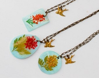 SUNFLOWER Necklace Light Blue Yellow Orange Bird Spring Bohemian Hippie