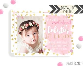 Pink and Gold Onederland Invitation | Digital or Printed | Wonderland Party | Winter Onederland Invitation |  Pink Gold Party Invitation