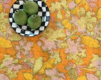 """Mid Century Mod Fabric - Floral Fabric - Orange Turquoise Yellow - Cutter Projects - Pillow or Cushion - Vintage Fabric - 54"""" x 44"""" Piece"""