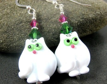 White Cat With Green Eyes Earrings, Kitty Earrings, Animal Earrings, Lampwork Earrings Pet Earrings Cute Earrings Fat Cat, Gift Idea for Her