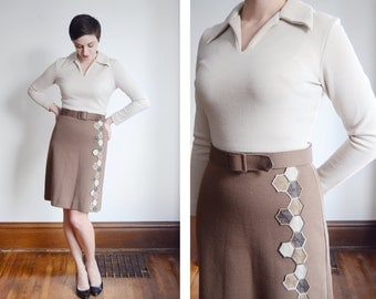 1960s Brown Two Tone Knit Dress - S/M