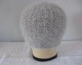 Gray Beanie. Hand Knit Hat in Cashmere, Angora, and Wool. Winter Accessories. Fashion Accessories.