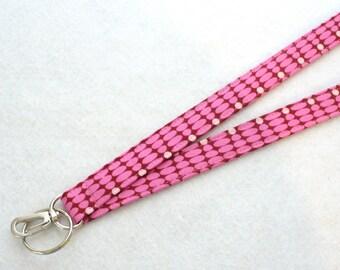 Zen Chic Urban Modern Fabric Lanyard ID Badge Holder Breakaway Lanyard Key Ring Fob Pink Burgundy Ongoing Beads Womens Lanyard